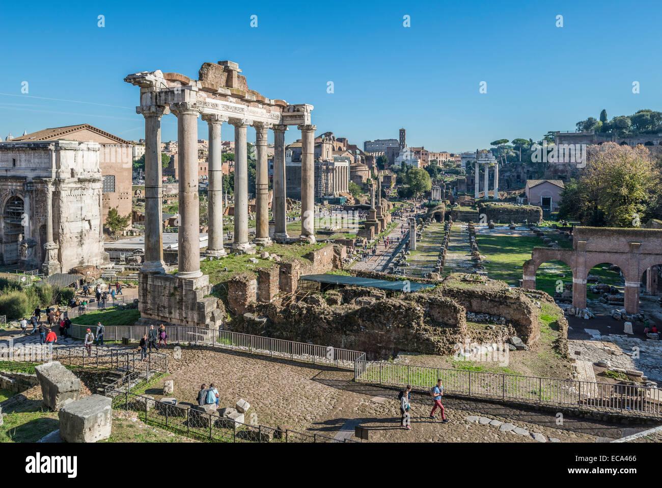 Columns of the Temple of Saturn, Roman Forum, Rione X Campitelli, Rome, Lazio, Italy - Stock Image