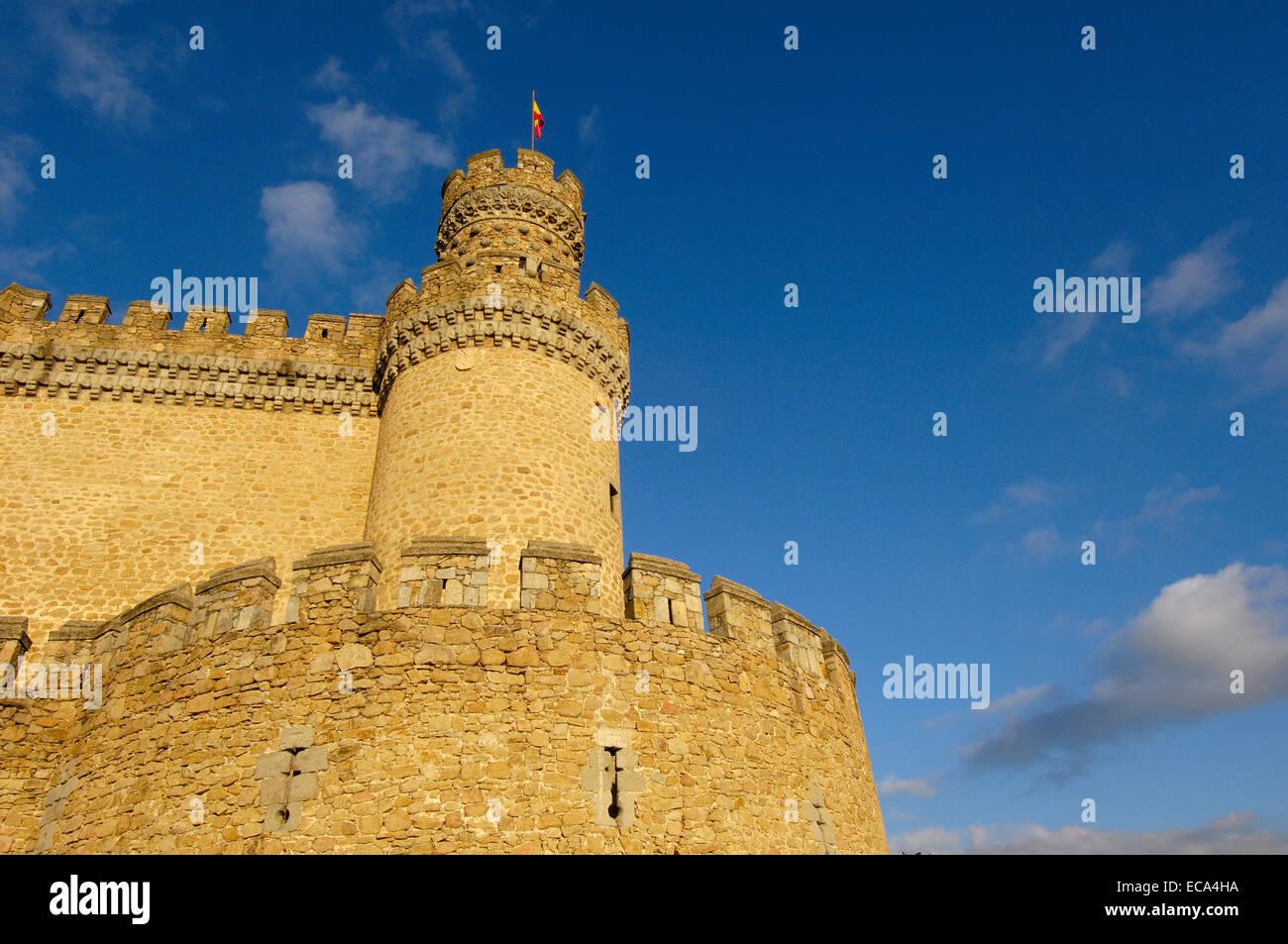 Castle of Manzanares el Real, Madrid, Spain, Europe Stock Photo