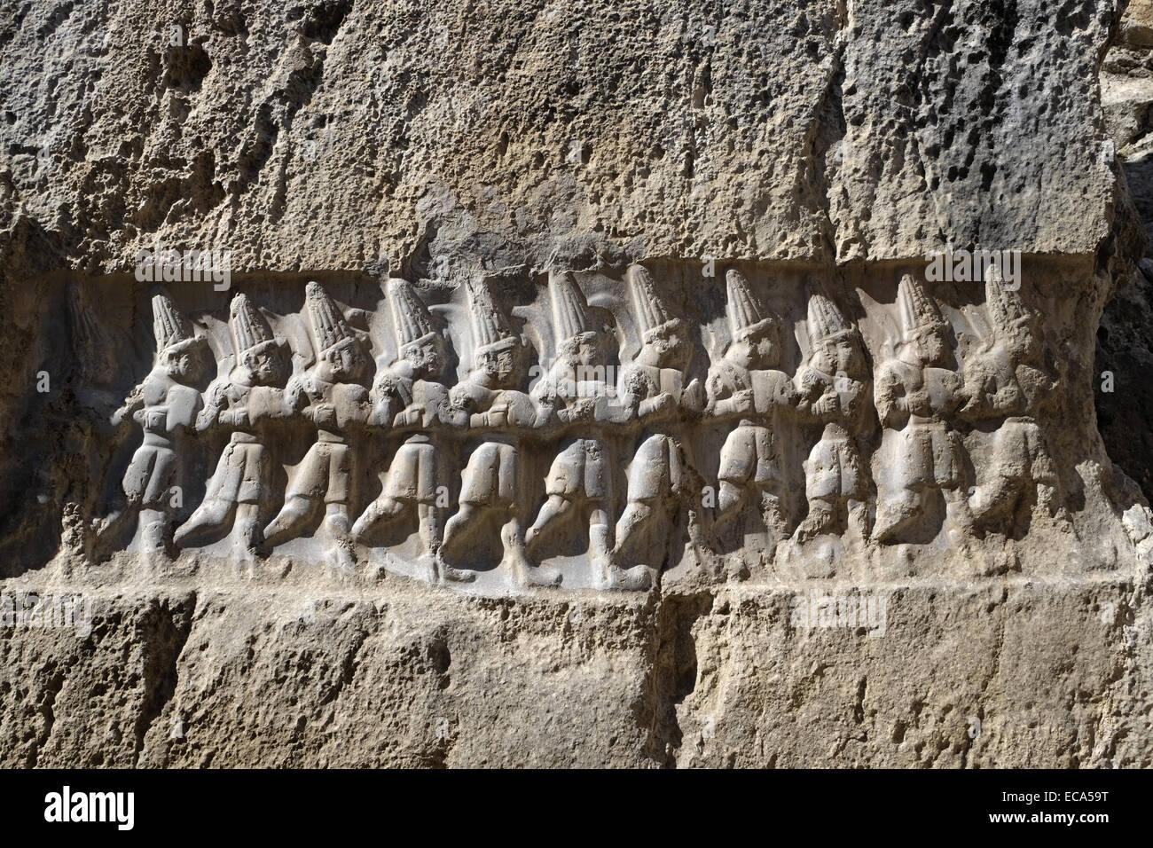 Relief of the 12 gods, Yazilikaya, sanctuary of the Hittites in Bogazkale, Çorum Province, Turkey Stock Photo