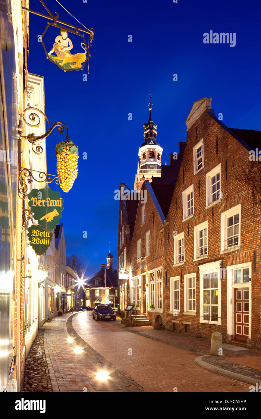 Historic gable houses in the Rathausstraße street, Leer, East Frisia, Lower Saxony, Germany - Stock Image