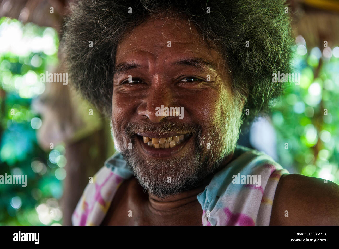 Traditional woodworker, portrait, Pohnpei, Micronesia Stock Photo