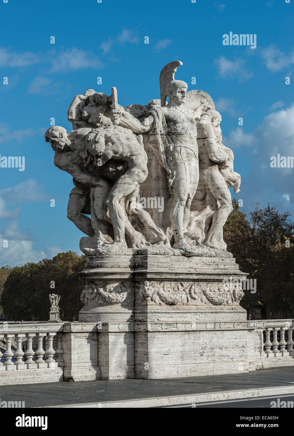 Il Valore Militare, marble sculpture, by Italo Orlando Griselli, 1910, allegorical group, victory of the Republic Stock Photo