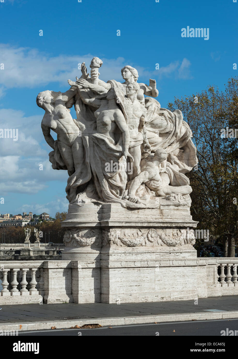 Marble sculpture, by Italo Orlando Griselli, 1910, allegorical group, victory of the Republic, Ponte Vittorio Emanuele Stock Photo
