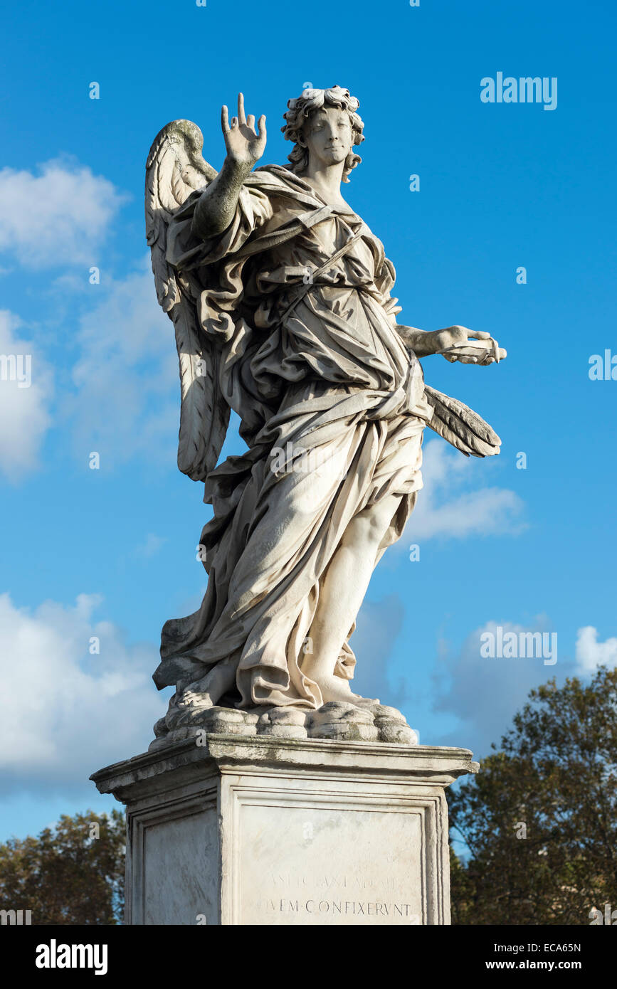 Angel with nails, by Girolamo Lucenti, angel statues with symbols of the Passion by Bernini, Ponte Sant'Angelo, - Stock Image