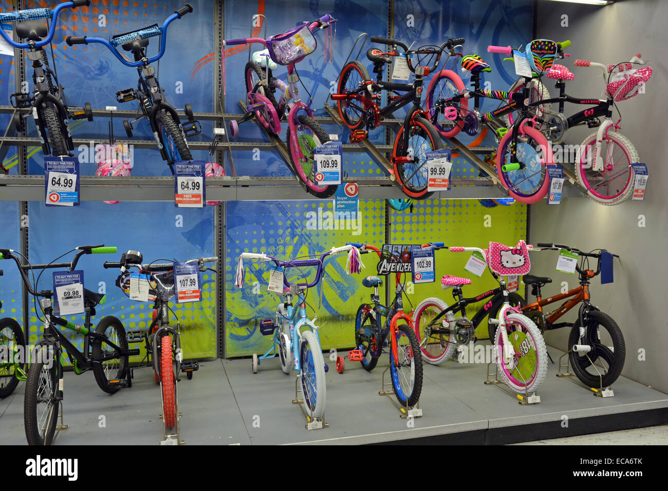 A display of new girl's bicycles at the Toys Are Us store in