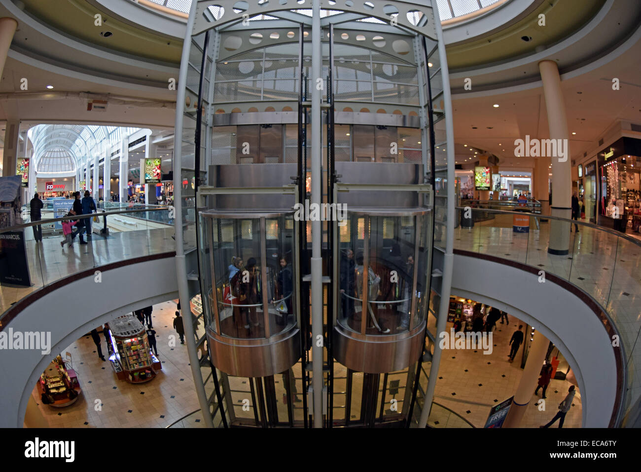 A general view of the Roosevelt Field indoor mall in Garden City Long Island New York. Photo with fisheye lens. - Stock Image