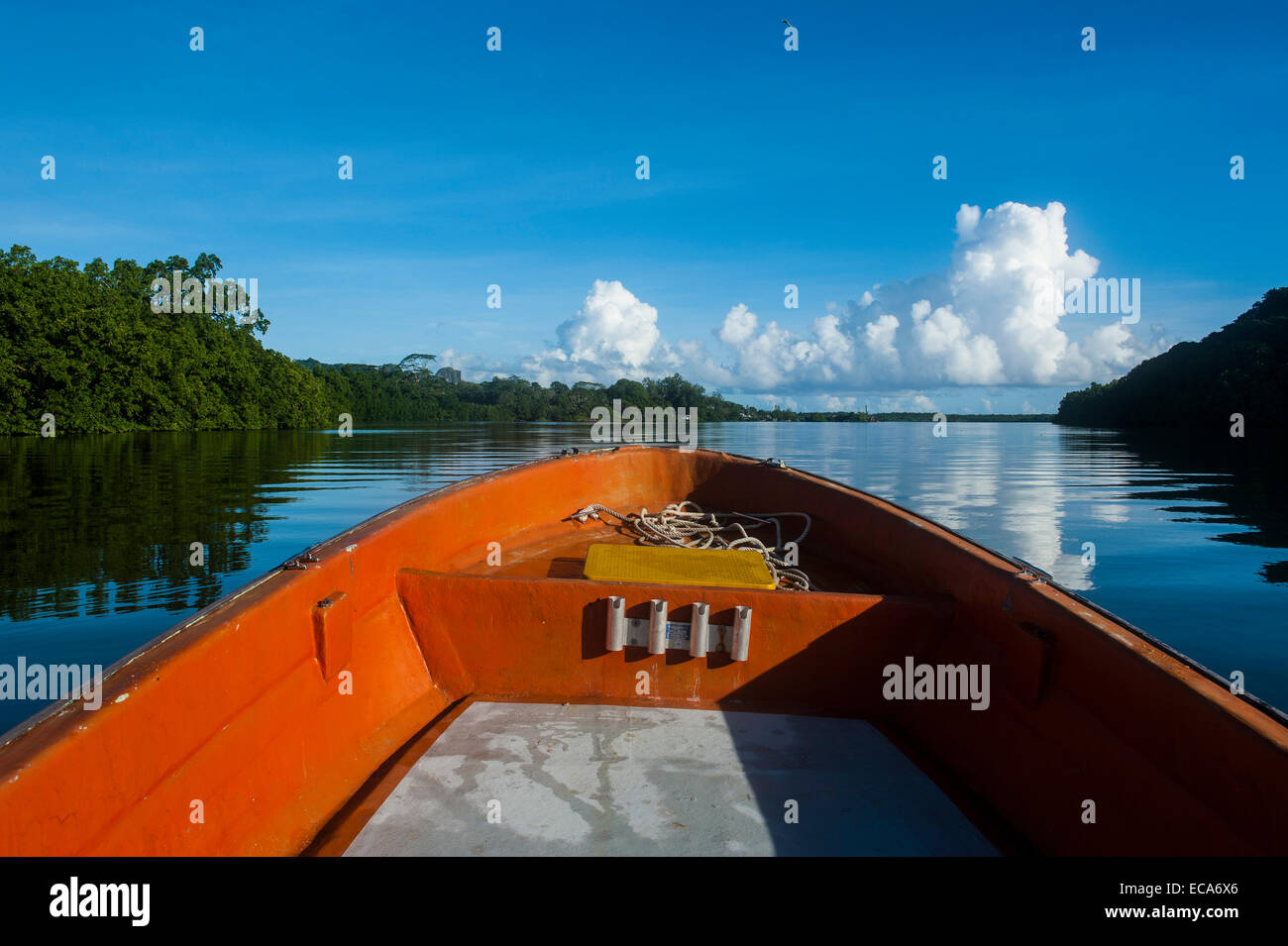 Boat cruising on a river, Pohnpei, Micronesia - Stock Image