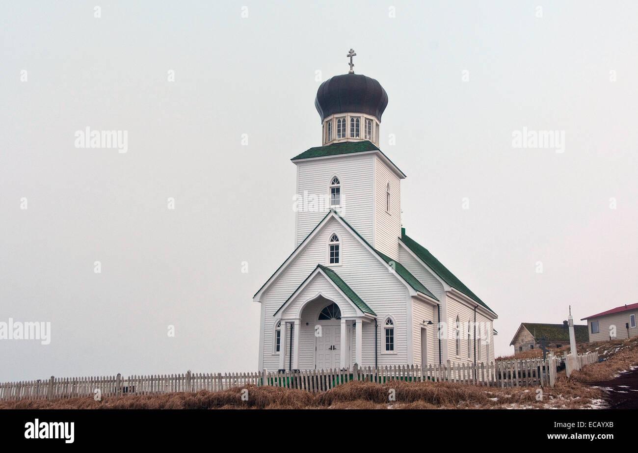 St. George the Great Martyr Orthodox Church a historic Russian Orthodox church on St. George Island, Alaska Stock Photo