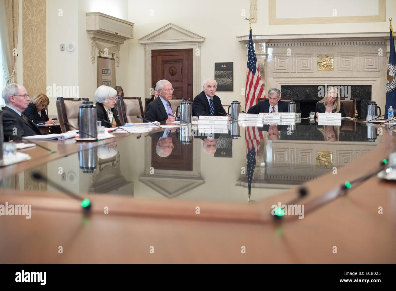 US Federal Reserve governors meet to discuss Fed governors discuss proposed rule for risk-based capital surcharges Stock Photo