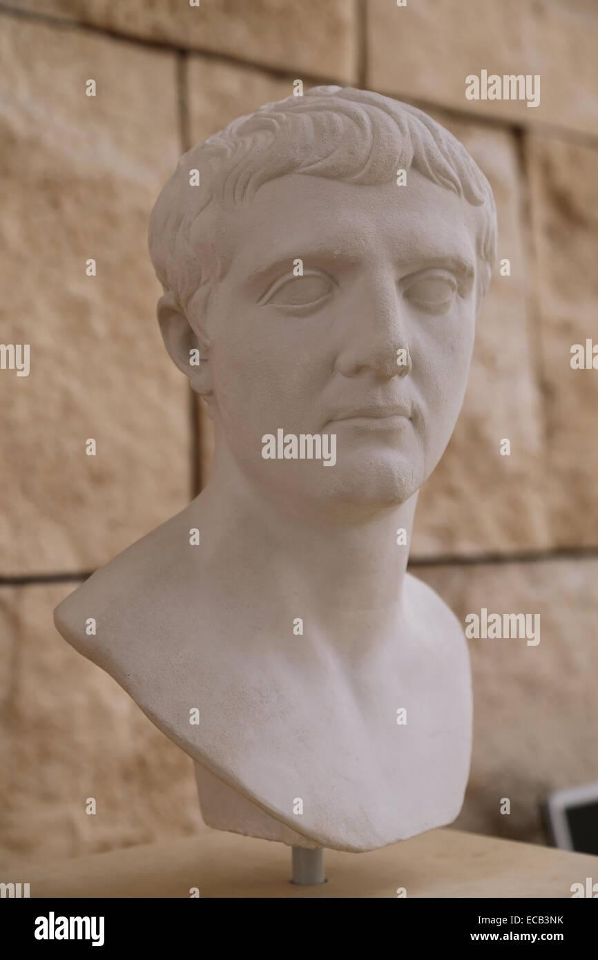 Portrait of Nero Claudius Drusus (38-9 BC). Roman politician and militar commander. Father of the Emperor Claudius. - Stock Image