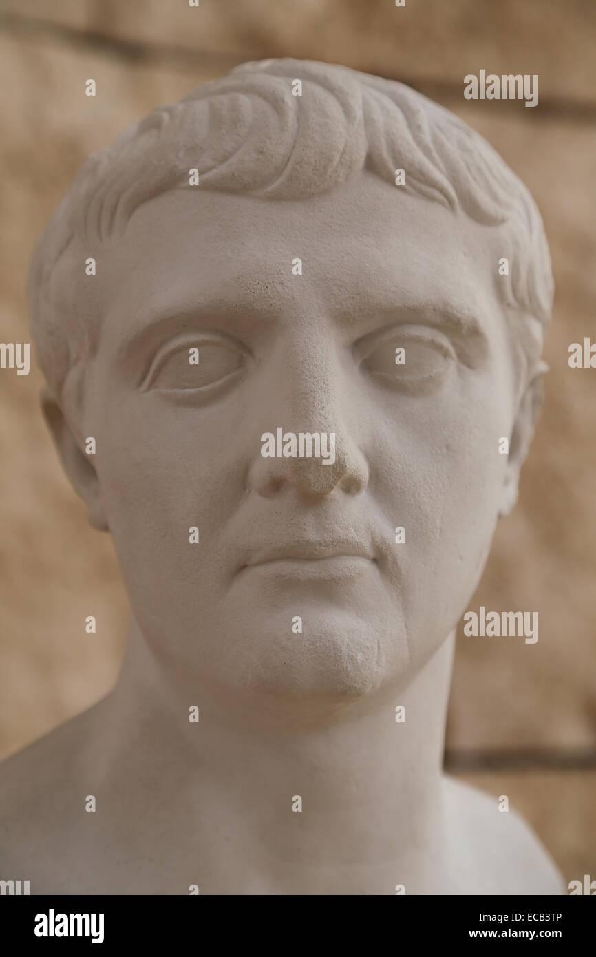 Portrait of Nero Claudius Drusus (38-9 BC). Roman politician and militar commander. Copy. - Stock Image