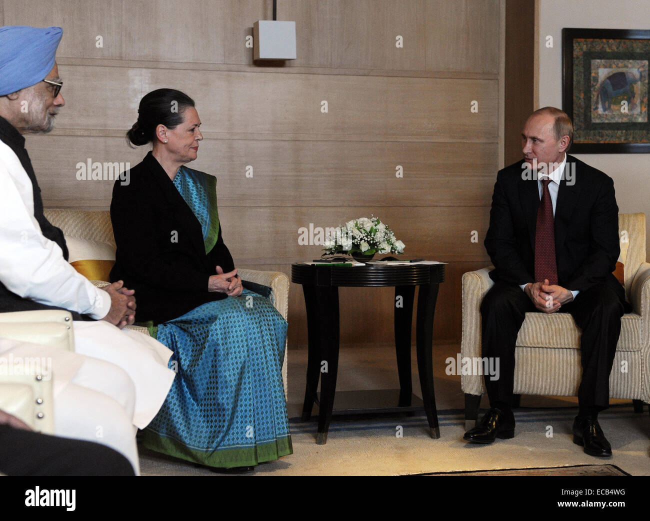 New Delhi, India. 11th Dec, 2014. Russia's president Vladimir Putin (R) and Indian National Congress president - Stock Image