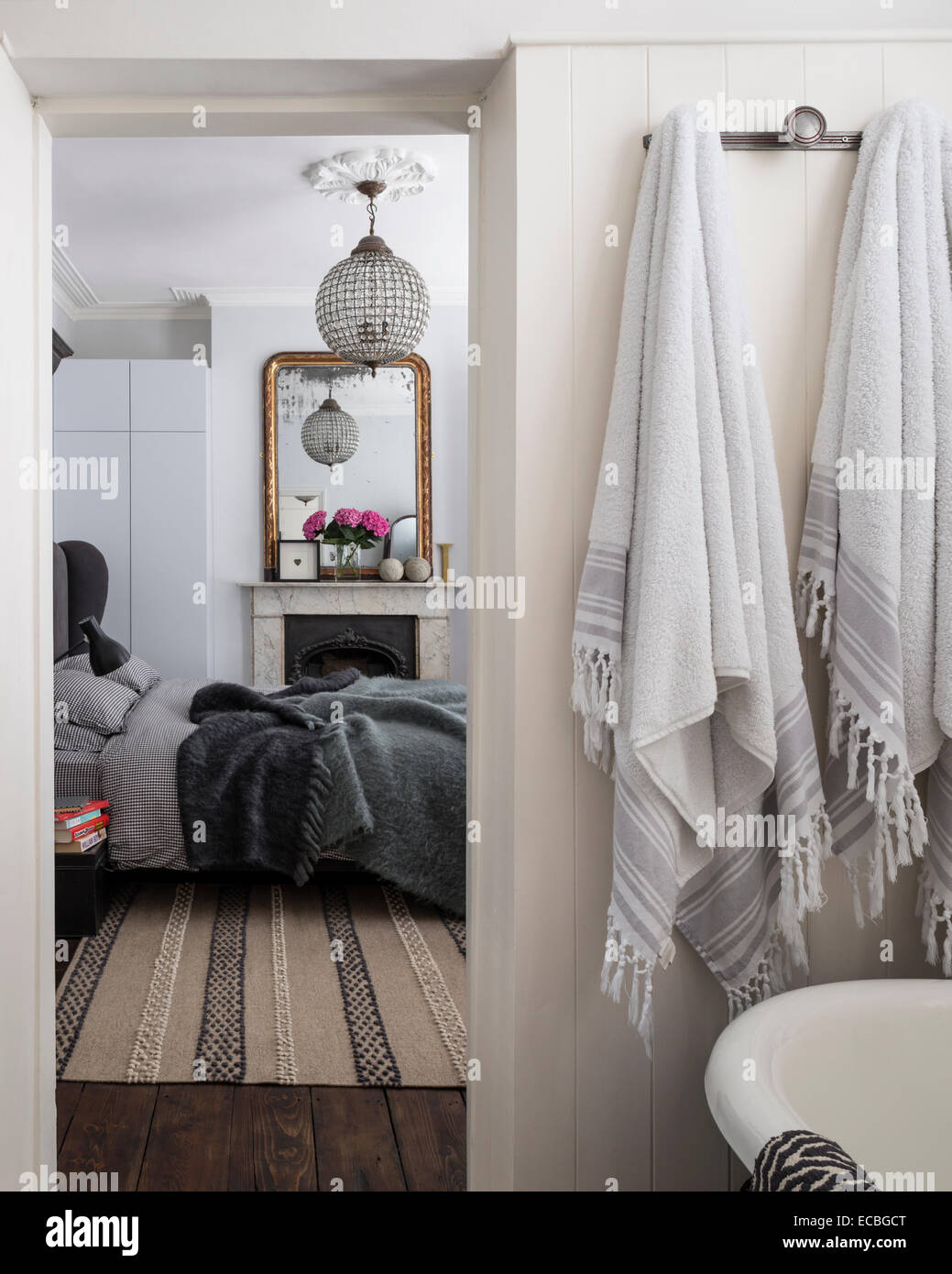 View from bathroom through to bedroom - Stock Image
