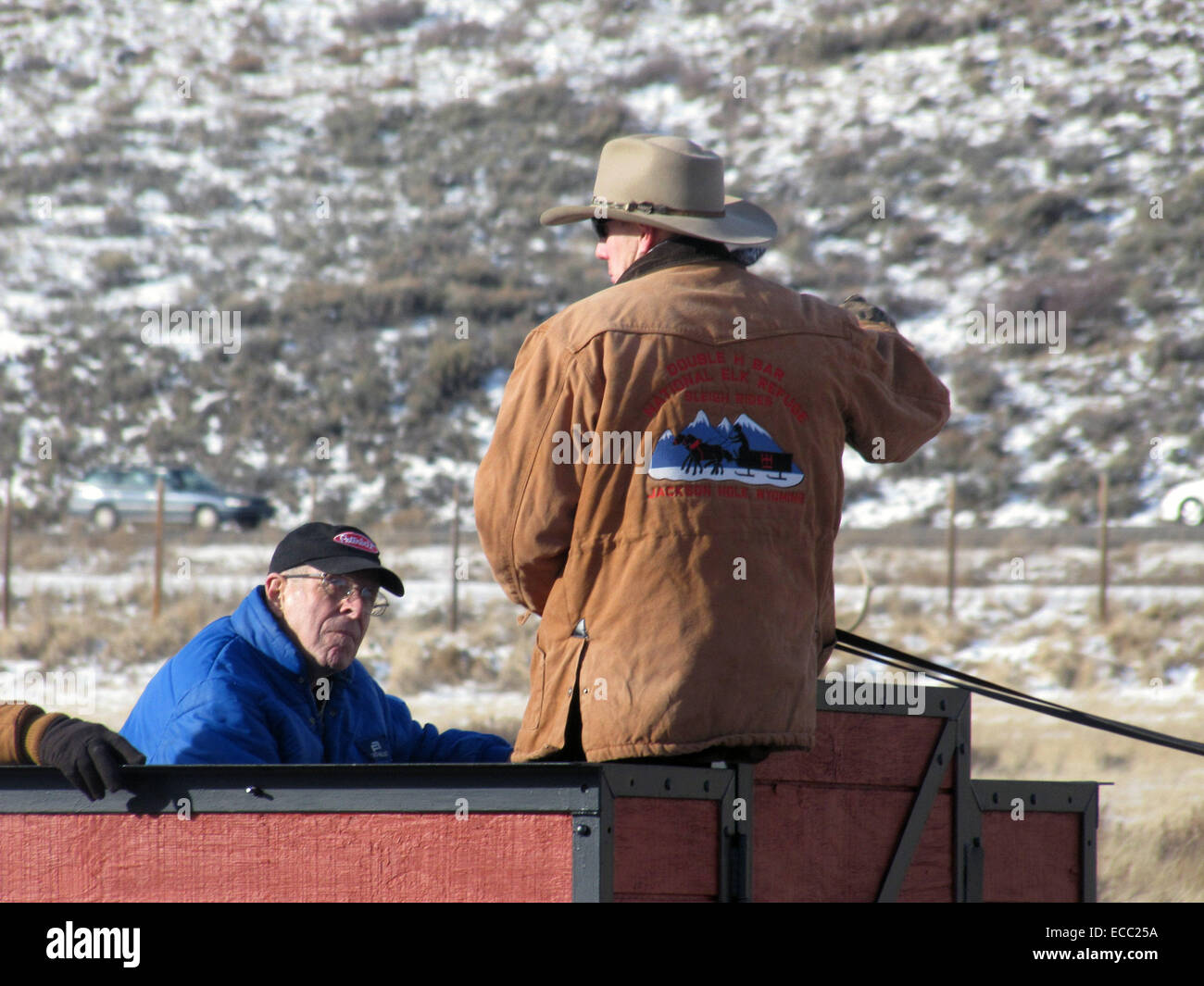 Sleigh drivers offer a quality educational program during the ride. The contractor's staff works closely with - Stock Image