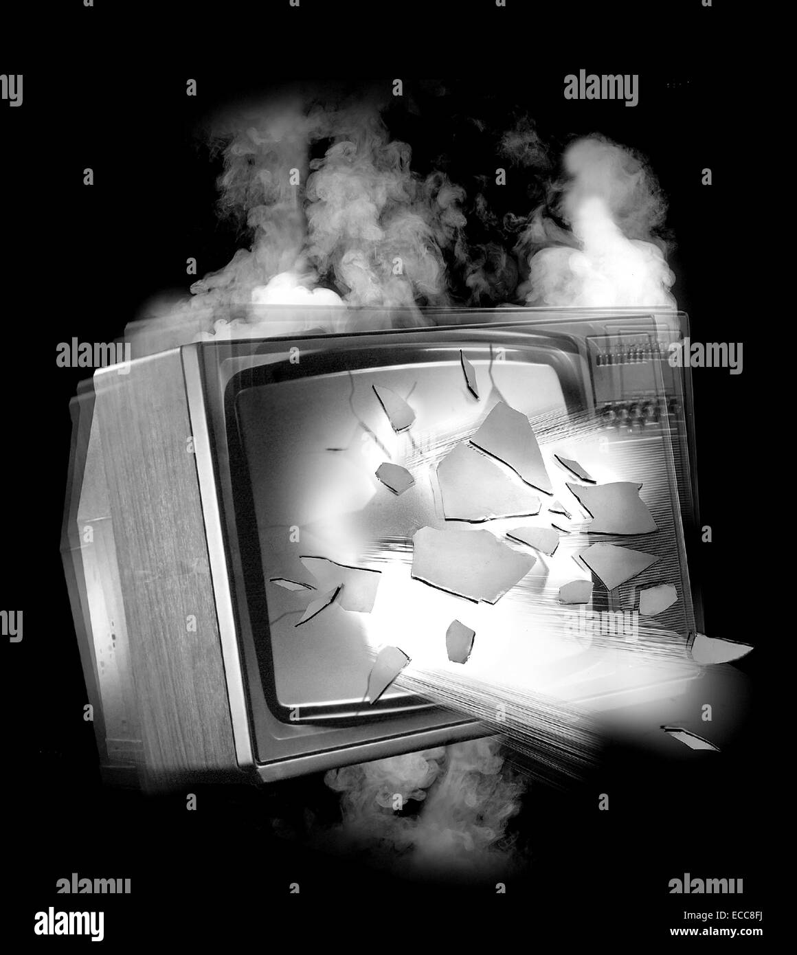 A black and white conceptual image of an old television set exploding - Stock Image