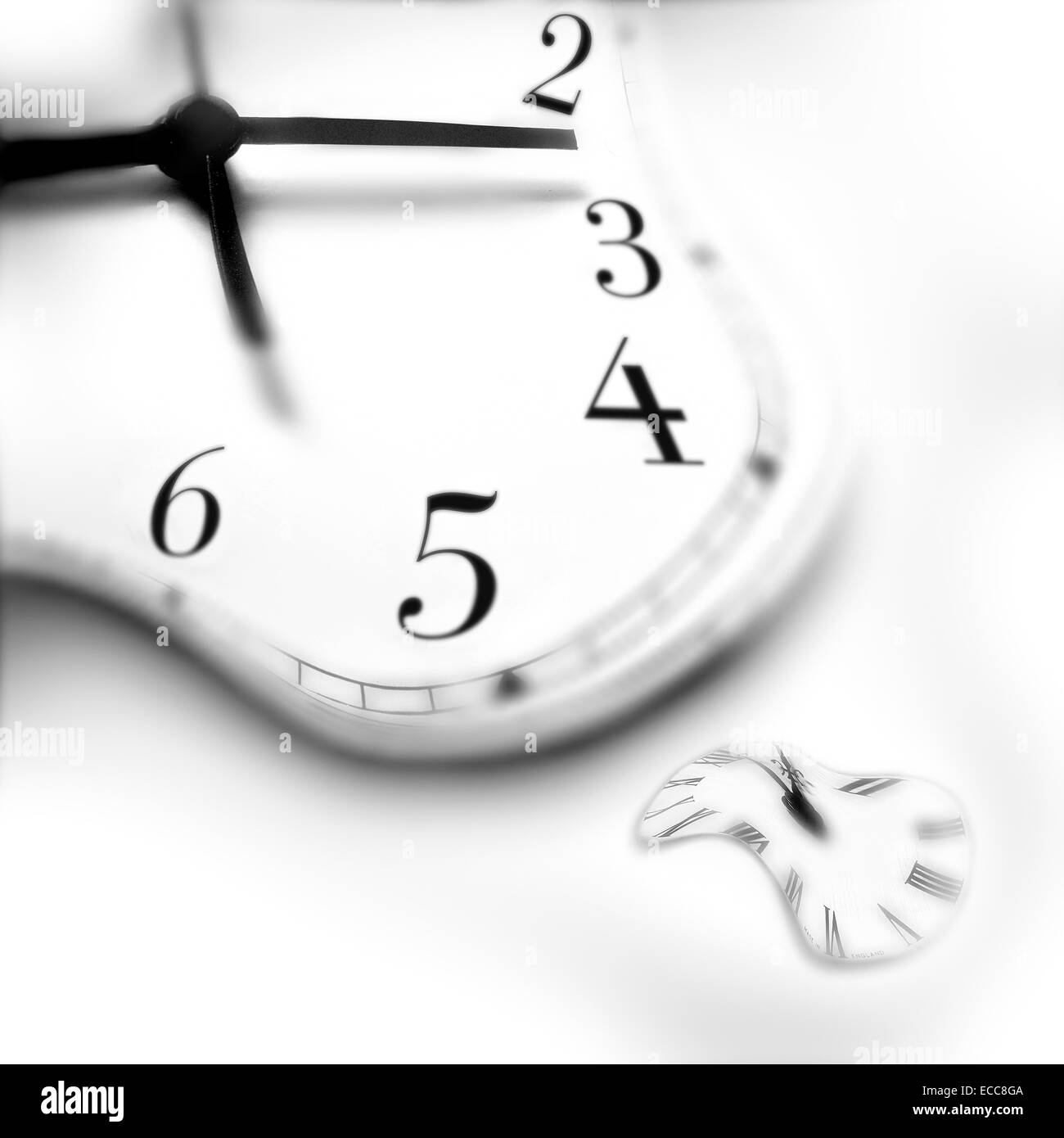 A conceptual image of warped clocks - Stock Image