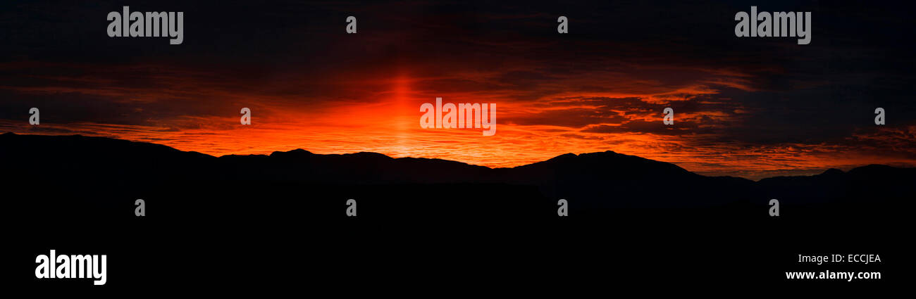 Sunrise from The Pit campground in Bishop, Calif. Stock Photo