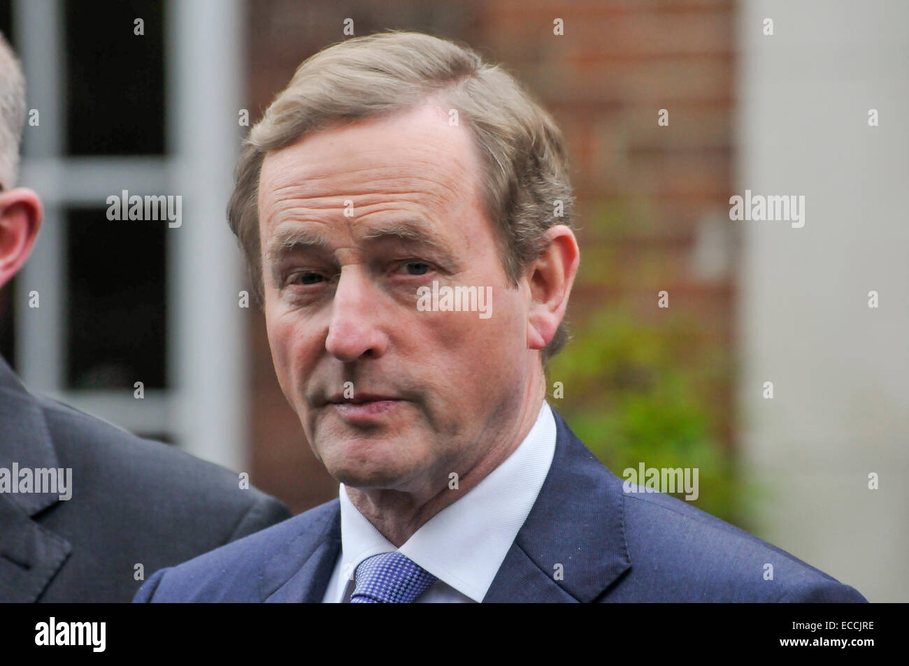 Belfast, Northern Ireland, UK. 11th December, 2014. Irish Taoiseach Enda Kenny gives a brief statement to the media - Stock Image