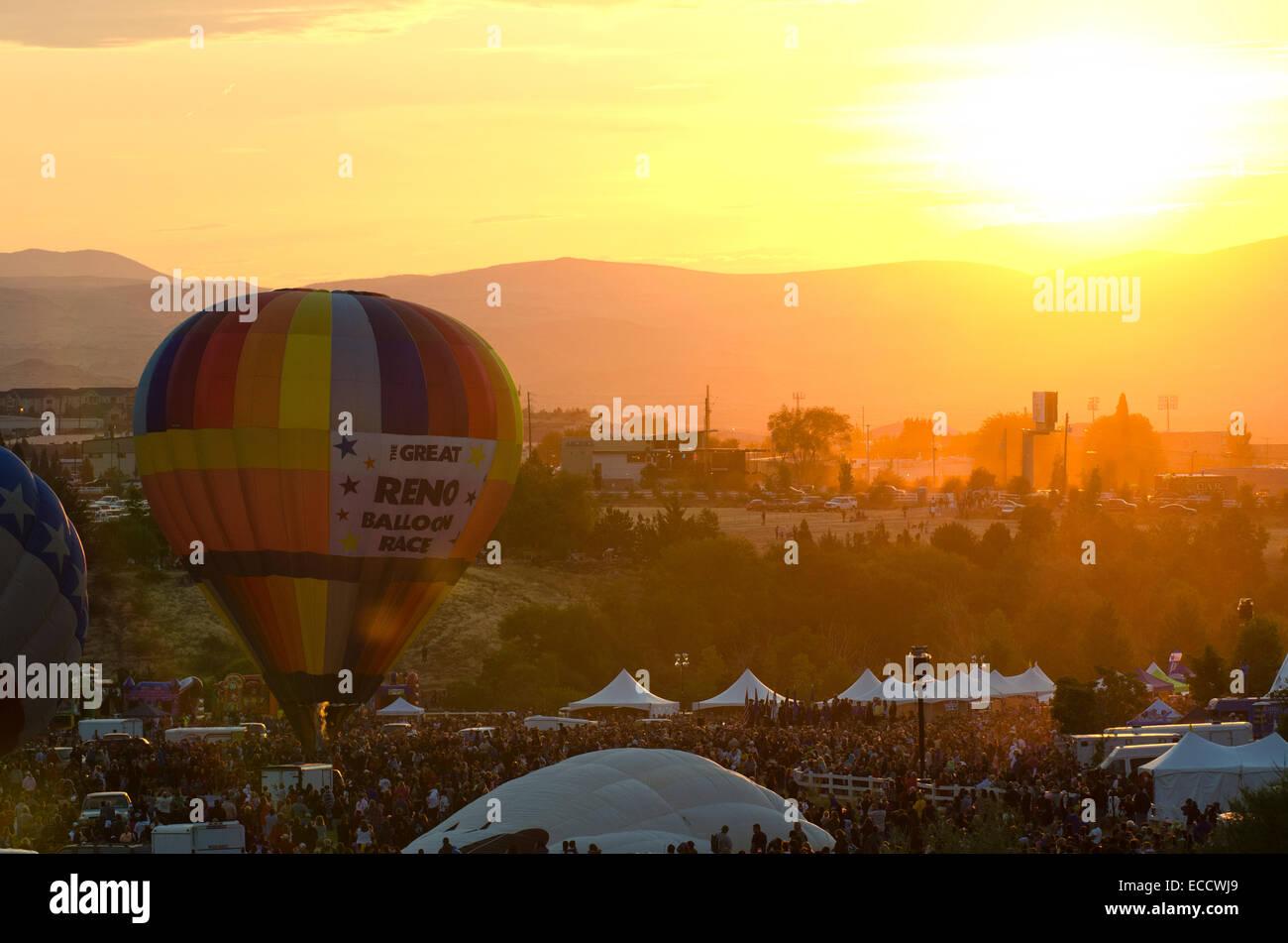 Dawn patrol at the Great Reno Balloon Races in Reno, Nevada. - Stock Image
