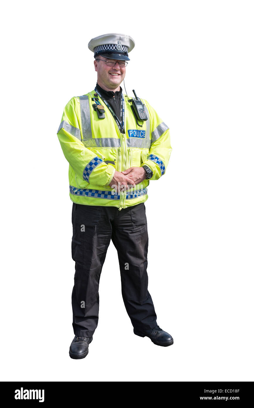 A cut out of a happy, smiling British traffic police officer in uniform from the Wiltshire constabulary - Stock Image