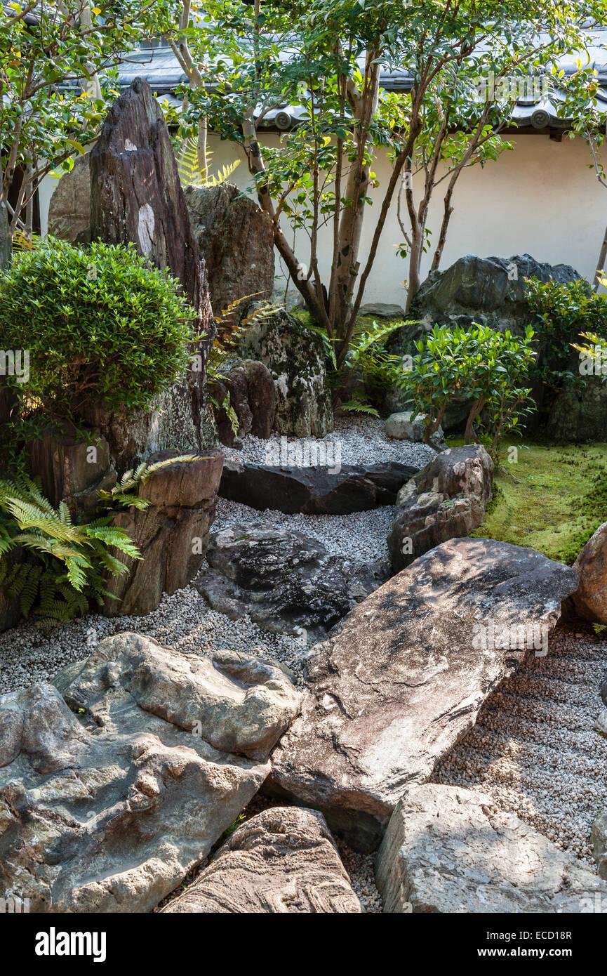 Daisen-in zen temple, Daitoku-ji, Kyoto, Japan. A corner of the hojo garden - Stock Image