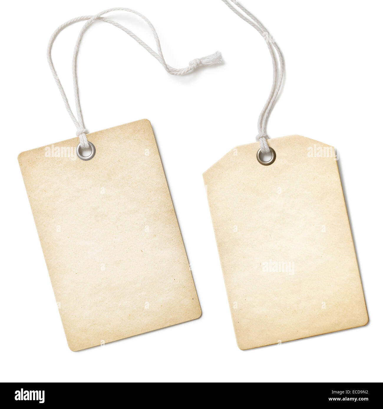Blank old paper cloth tag or label set isolated on white - Stock Image