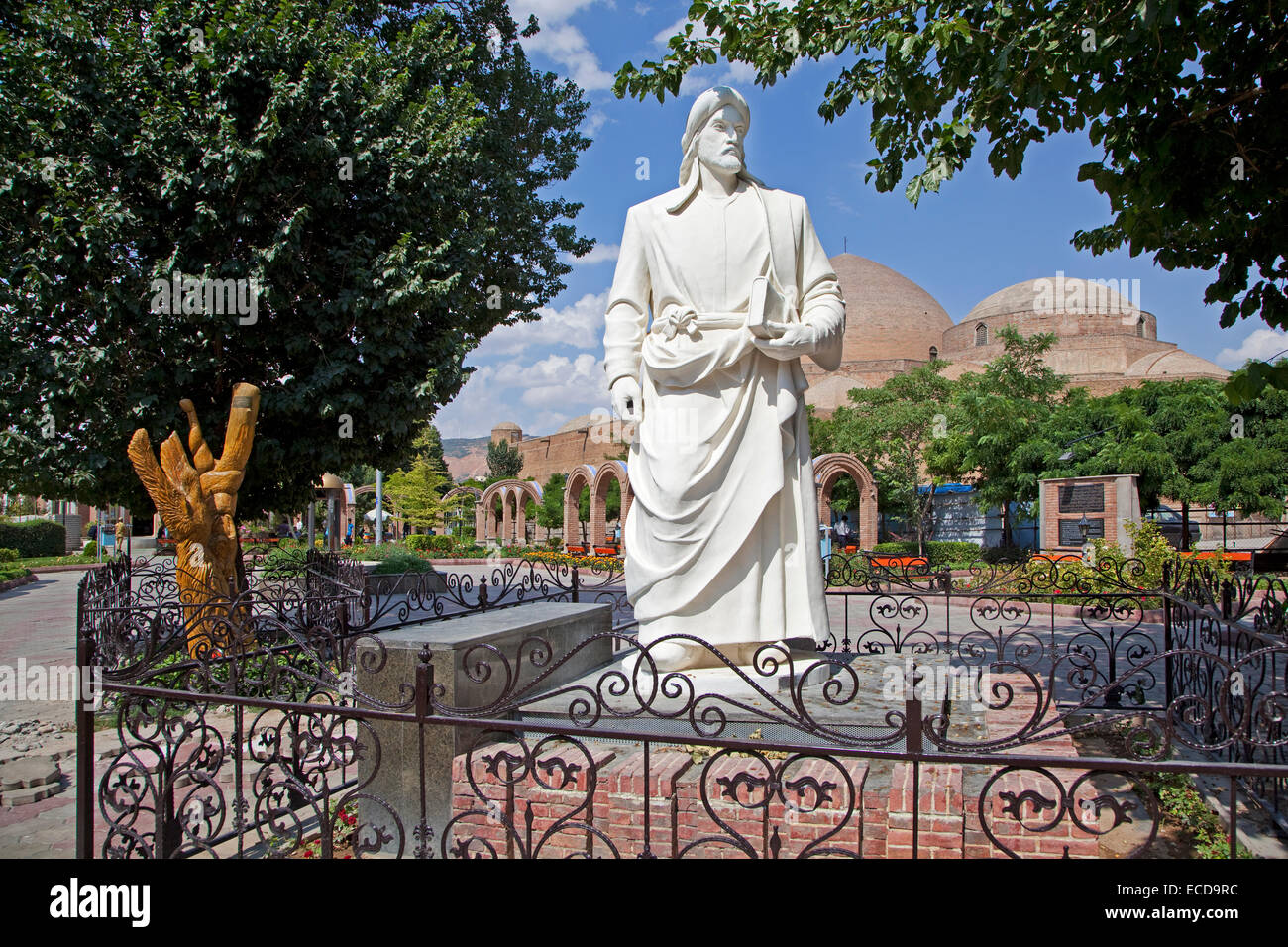 White statue of the Persian poet Khaqani in front of the Blue Mosque in the city Tabriz, East Azerbaijan, Iran - Stock Image