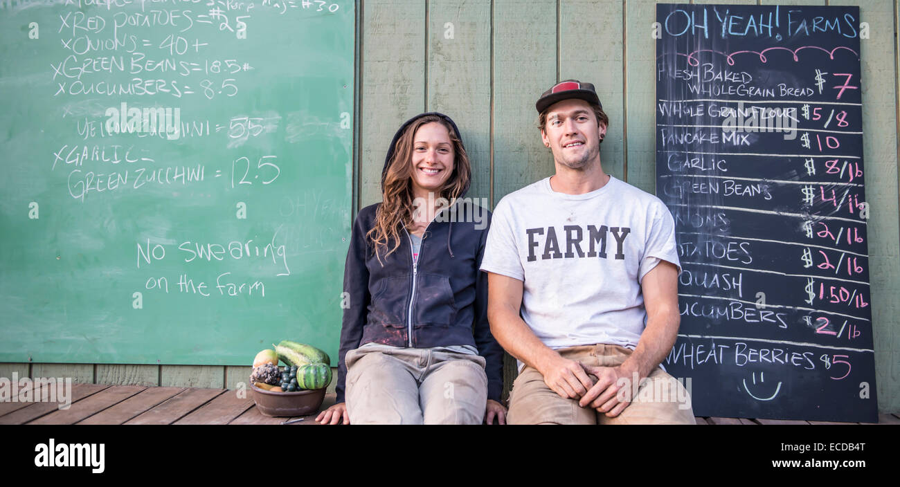Owners of Oh Yea Orgainic Farms. - Stock Image