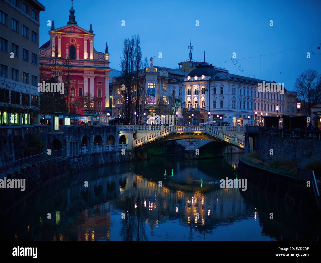The Triple Bridge is probably the most  beautiful, unusual and well known of all bridges in Ljubljana, Slovenia - Stock Image
