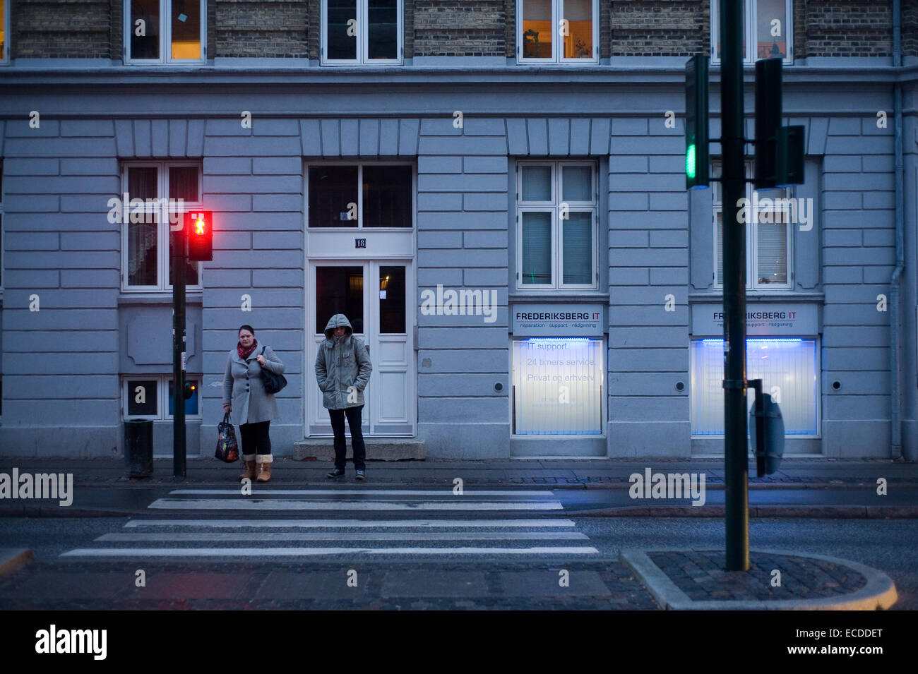 Red Green Blue bleak lonely street scene from Copenhagen street - Stock Image