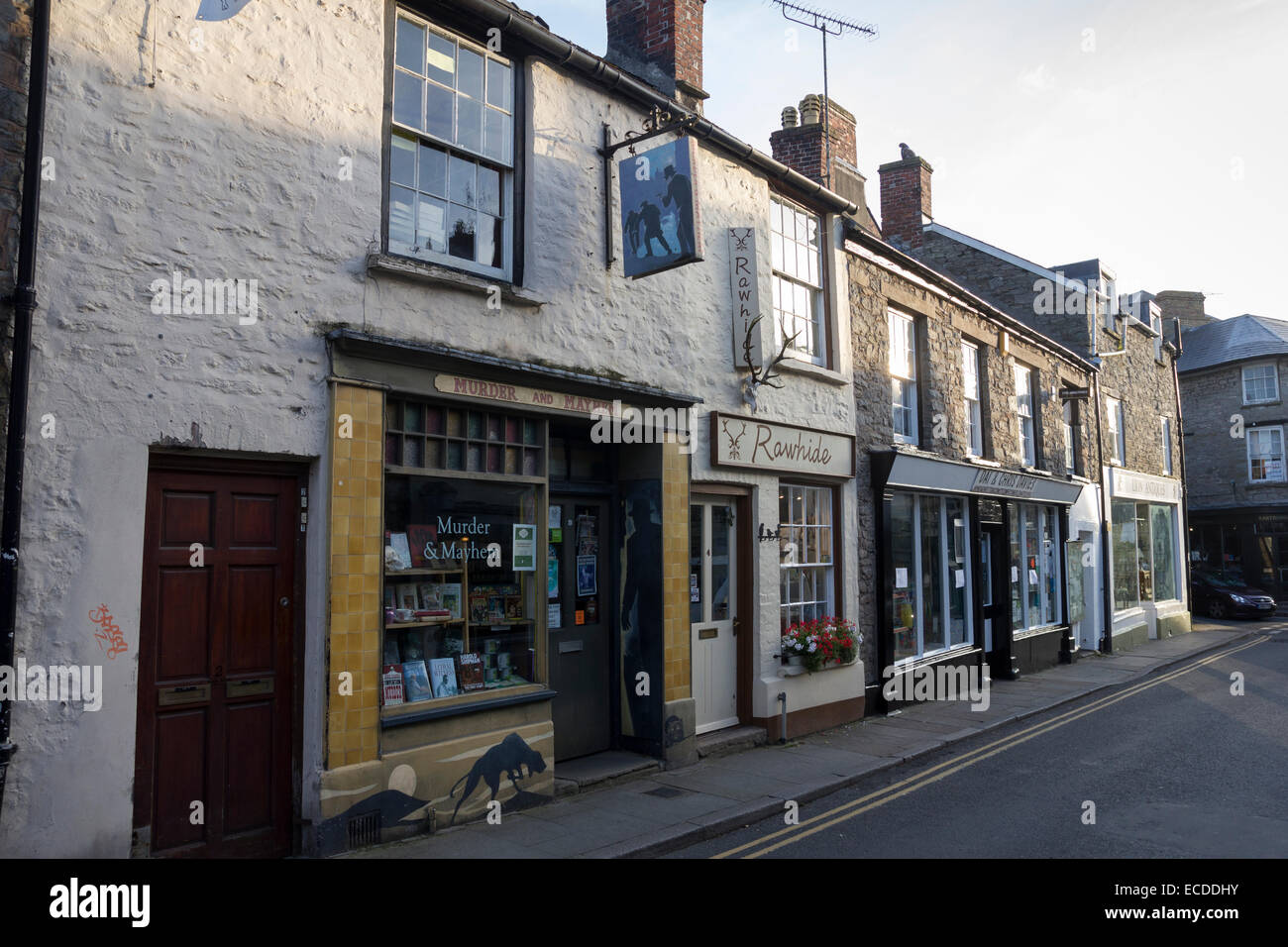 Shops in the famous literary town of Hay-on-Wye in Powys, Wales - Stock Image