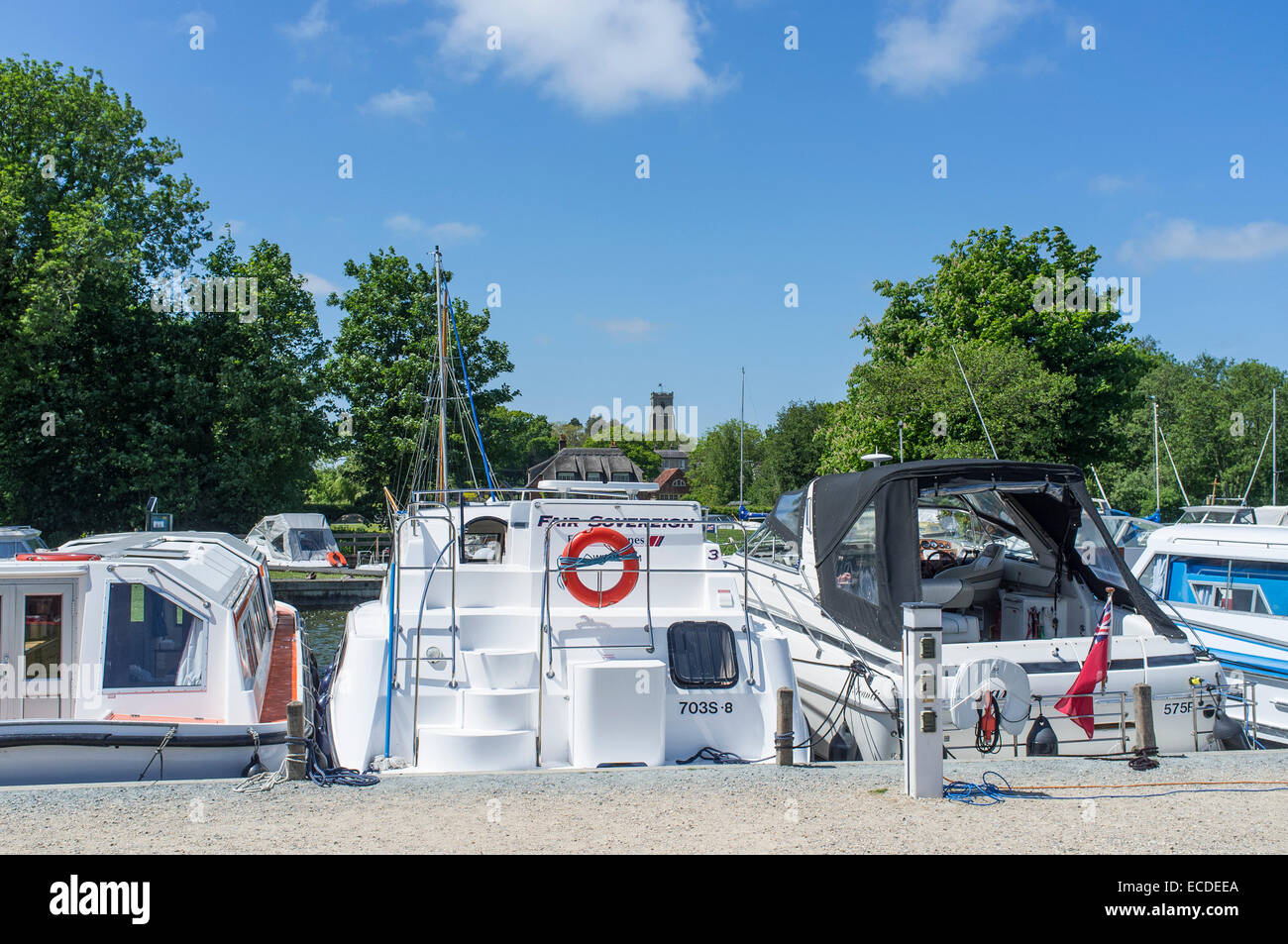 Broads Cruisers Moored at Ranworth Staithe Norfolk England - Stock Image