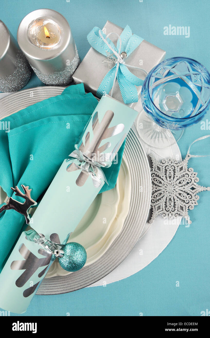 Modern Christmas table place settings in aqua blue silver and white theme. Vertical. & Modern Christmas table place settings in aqua blue silver and white ...