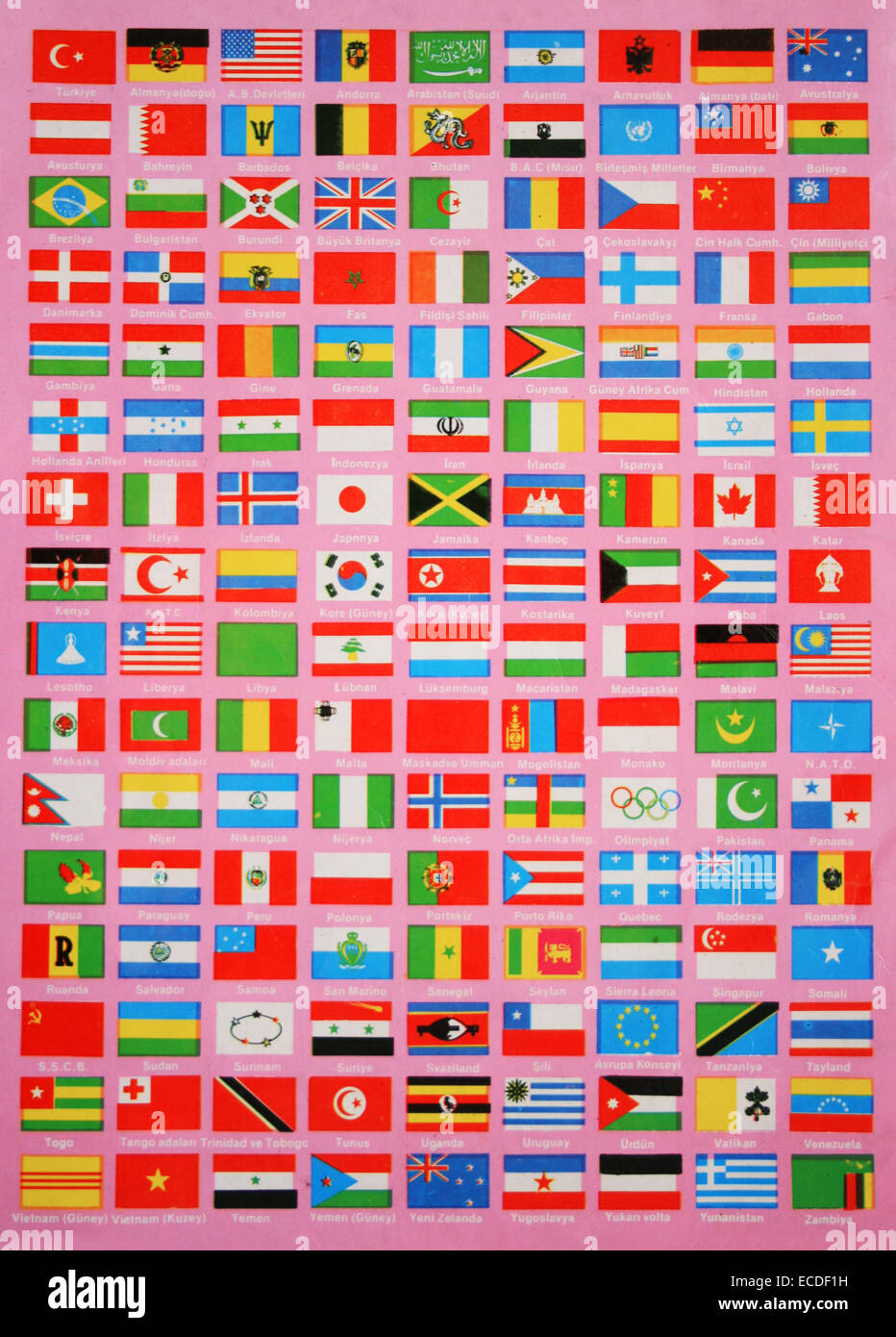 Flags of The World,Names are in Turkish Language Stock Photo