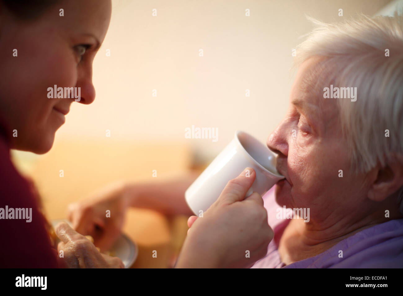 Woman, 85 years, in a nursing home, at breakfast, supported by a geriatric nurse, - Stock Image
