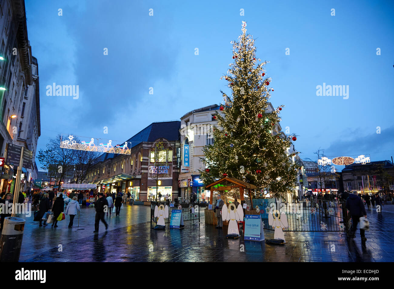 Liverpool city centre xmas tree and lights on christmas shopping evening church street UK - Stock Image