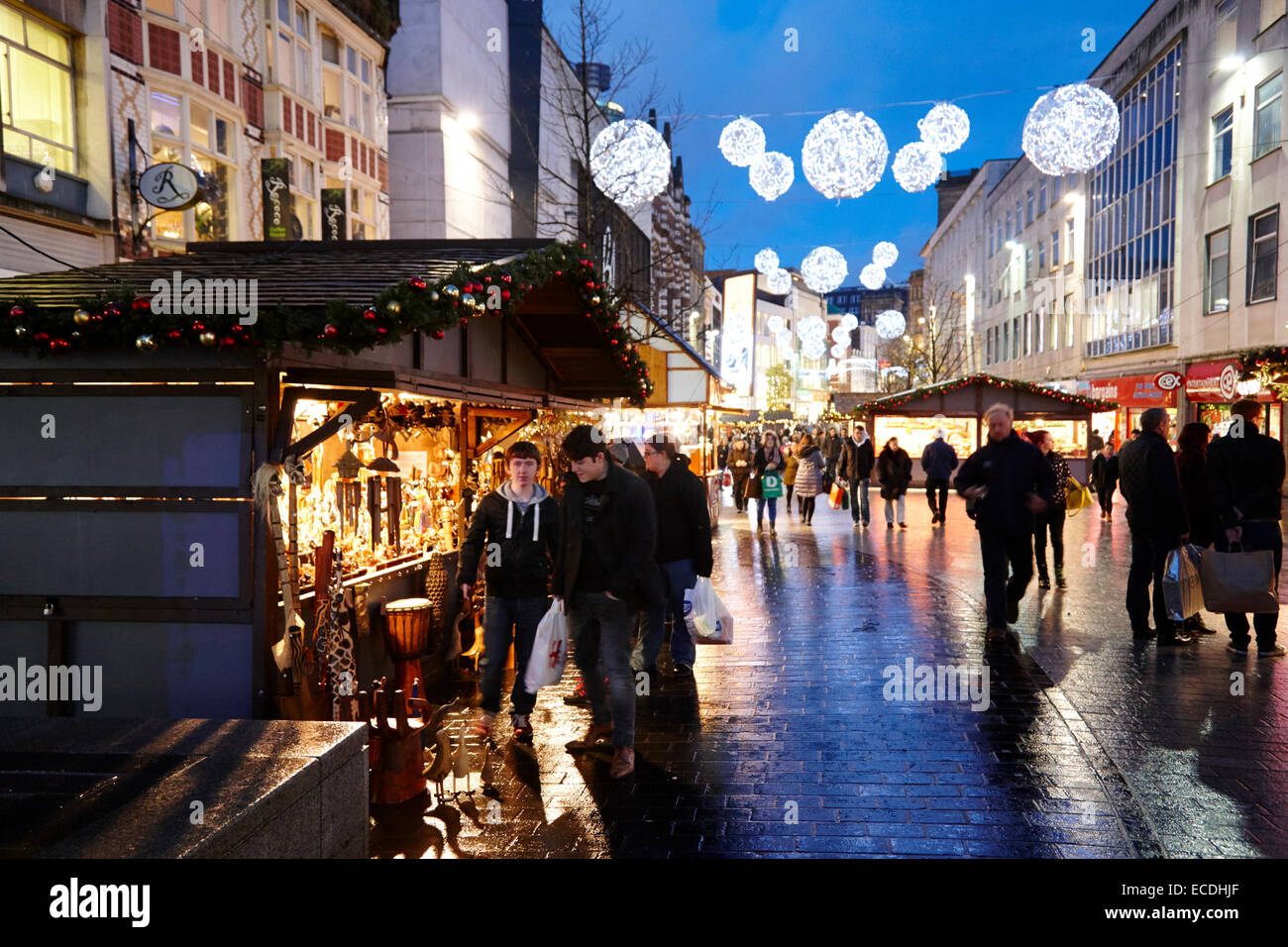 Liverpool city centre xmas market and lights on christmas shopping evening church street UK - Stock Image