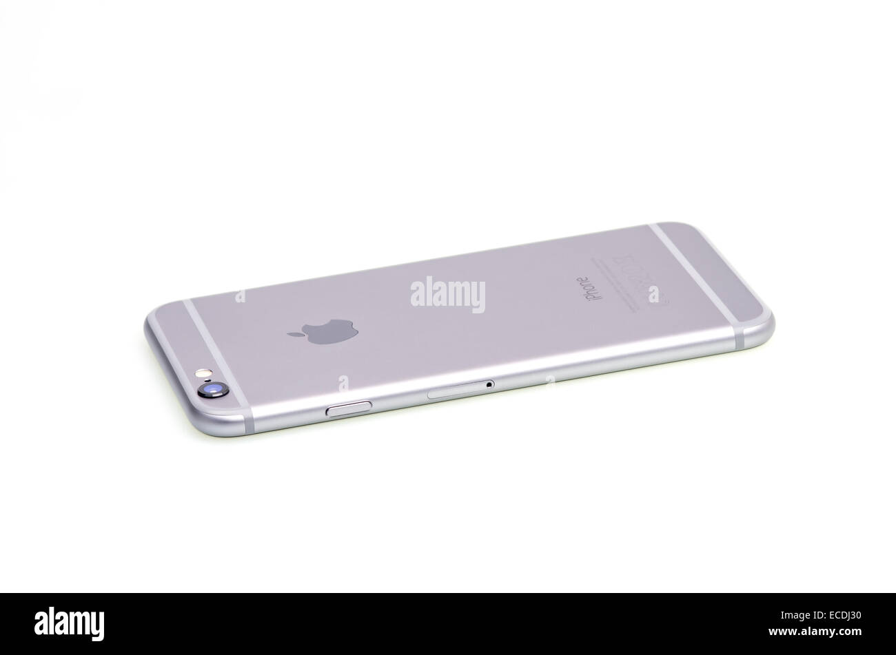 Gray smartphone isolated on white, iphone 6. Stock Photo