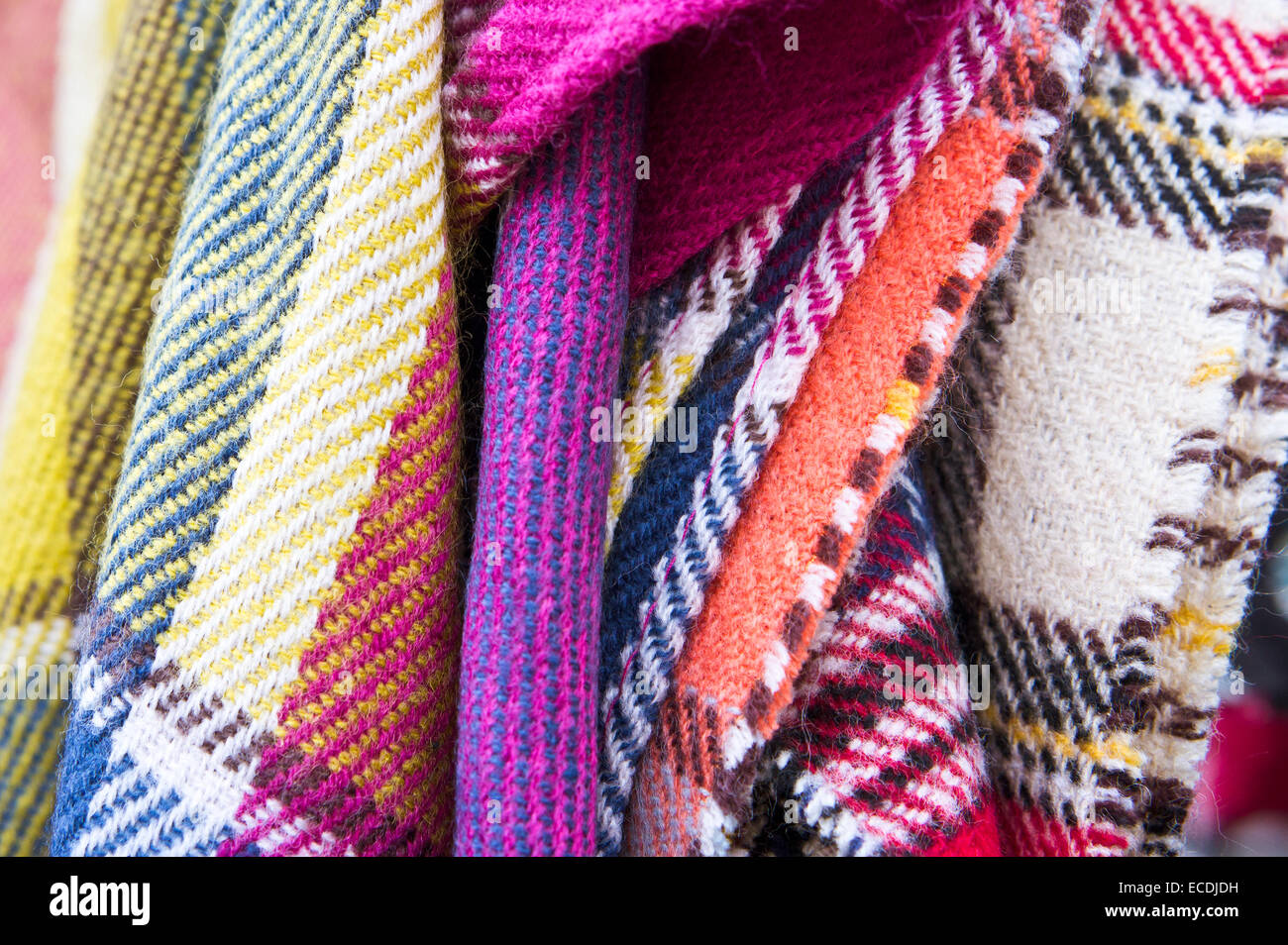 Close up of selection of wool blankets - Stock Image