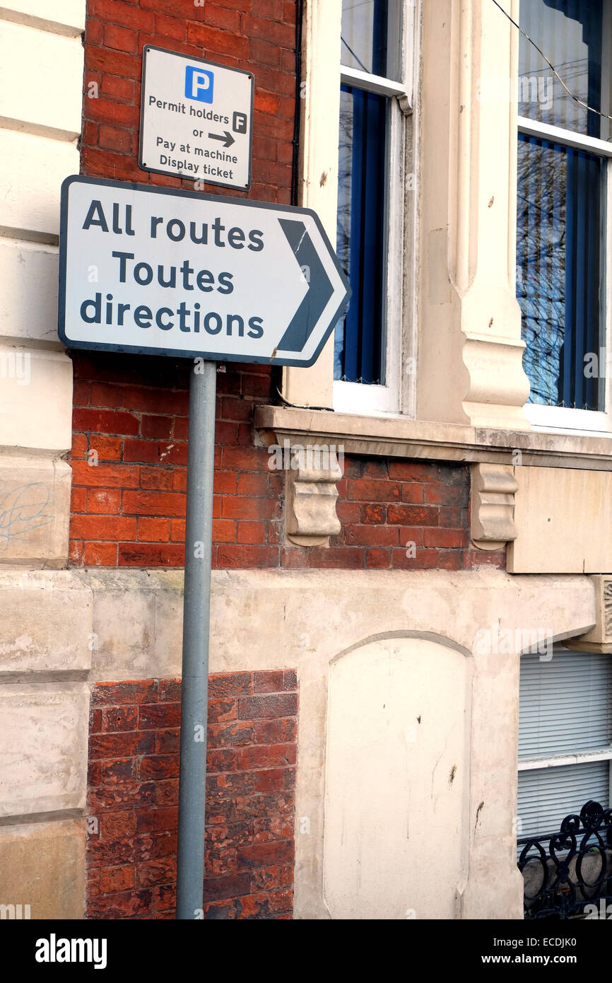 Toutes Directions road sign one of the first that drivers see after leaving the ferry port in Weymouth. 10th December - Stock Image