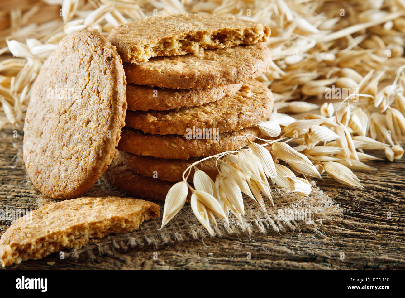 Oatmeal cookies on the wooden table - Stock Image