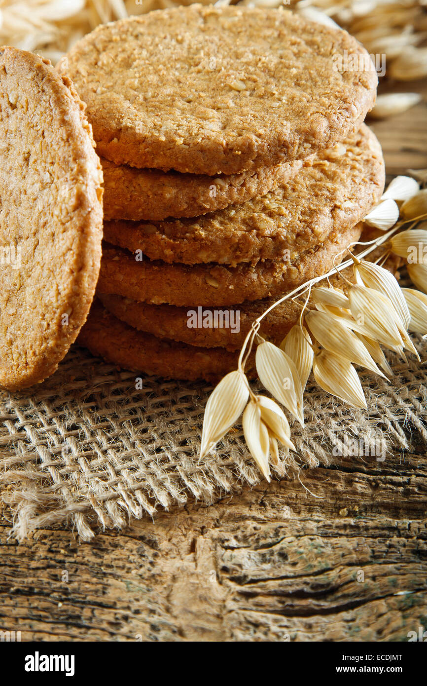 Oatmeal cookies on the wooden table Stock Photo