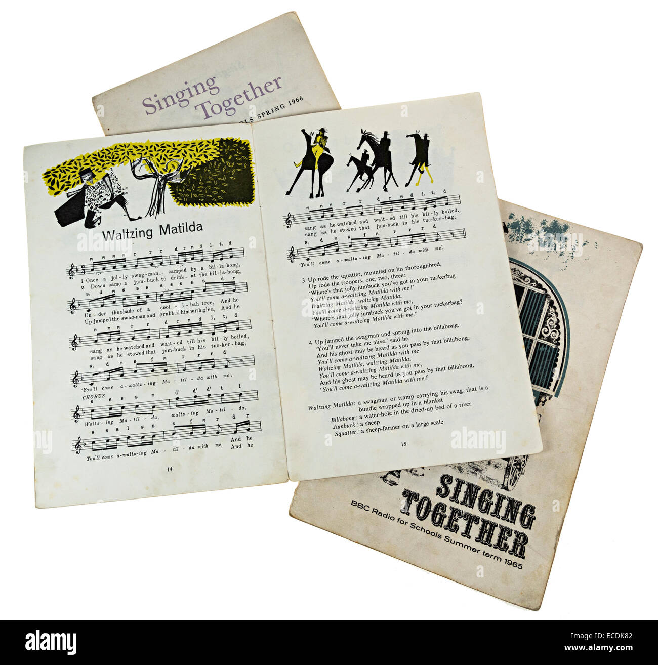 Singing Together song books for BBC Sound Broadcasts to schools in 1964, 1965 and 1966 with Waltzing Matilda music, - Stock Image