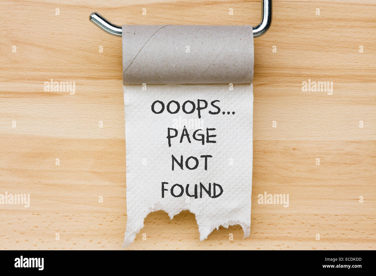 Page not found. Toilet paper as web message - Stock Image