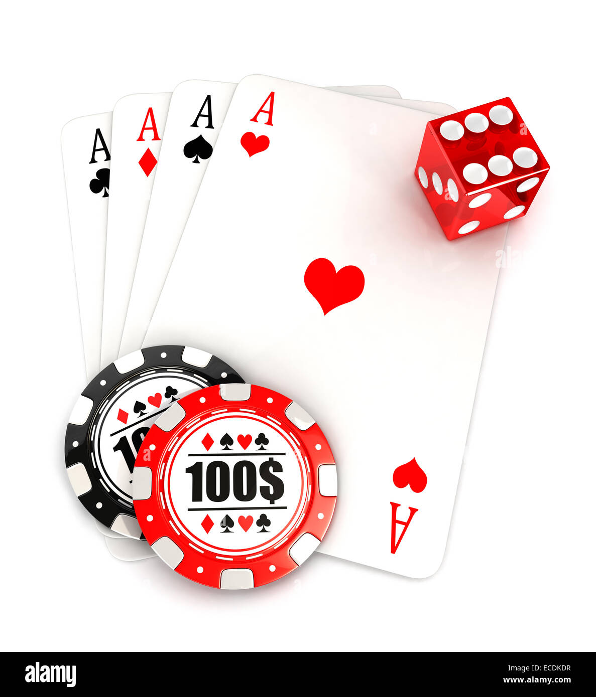 3d casino accessories, dice, cards and chips, isolated white background, 3d image Stock Photo
