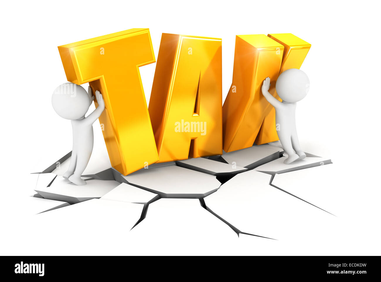 3d white people heavy tax, isolated white background, 3d image Stock Photo