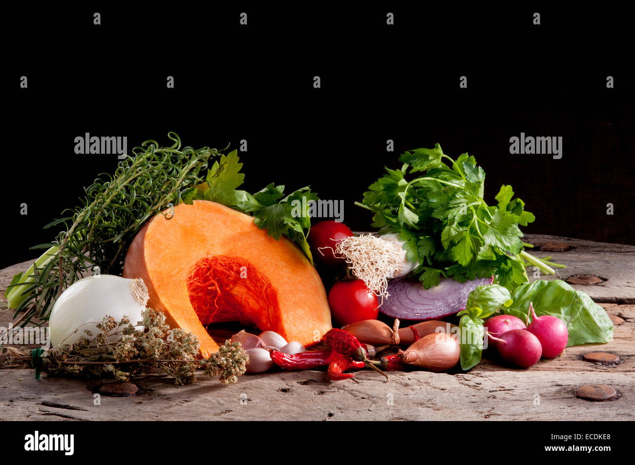 set of autumn flavors, for soup - Stock Image