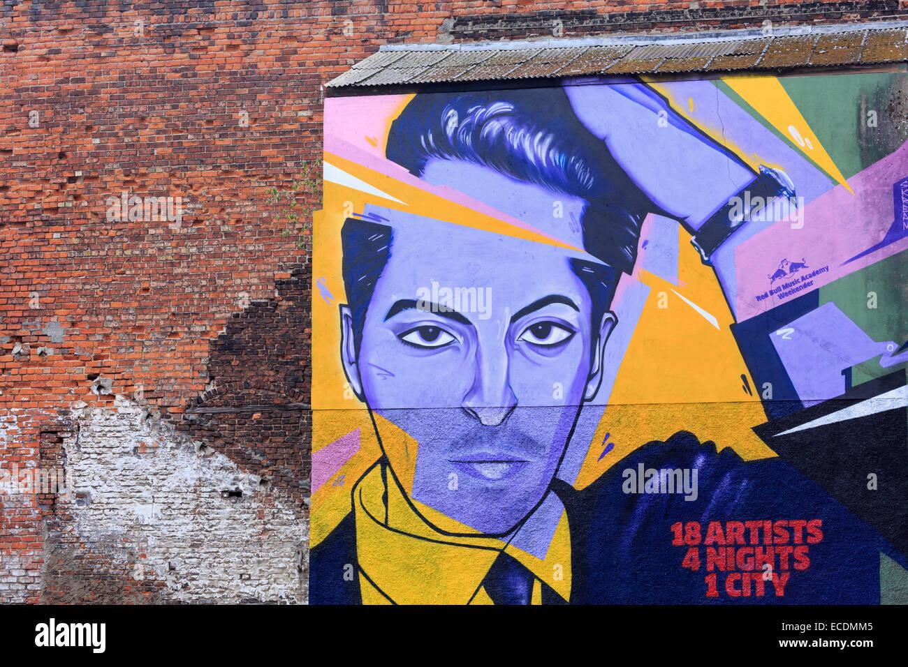 Mural on Kent Street, Belfast, Northern Ireland, United Kingdom - Stock Image