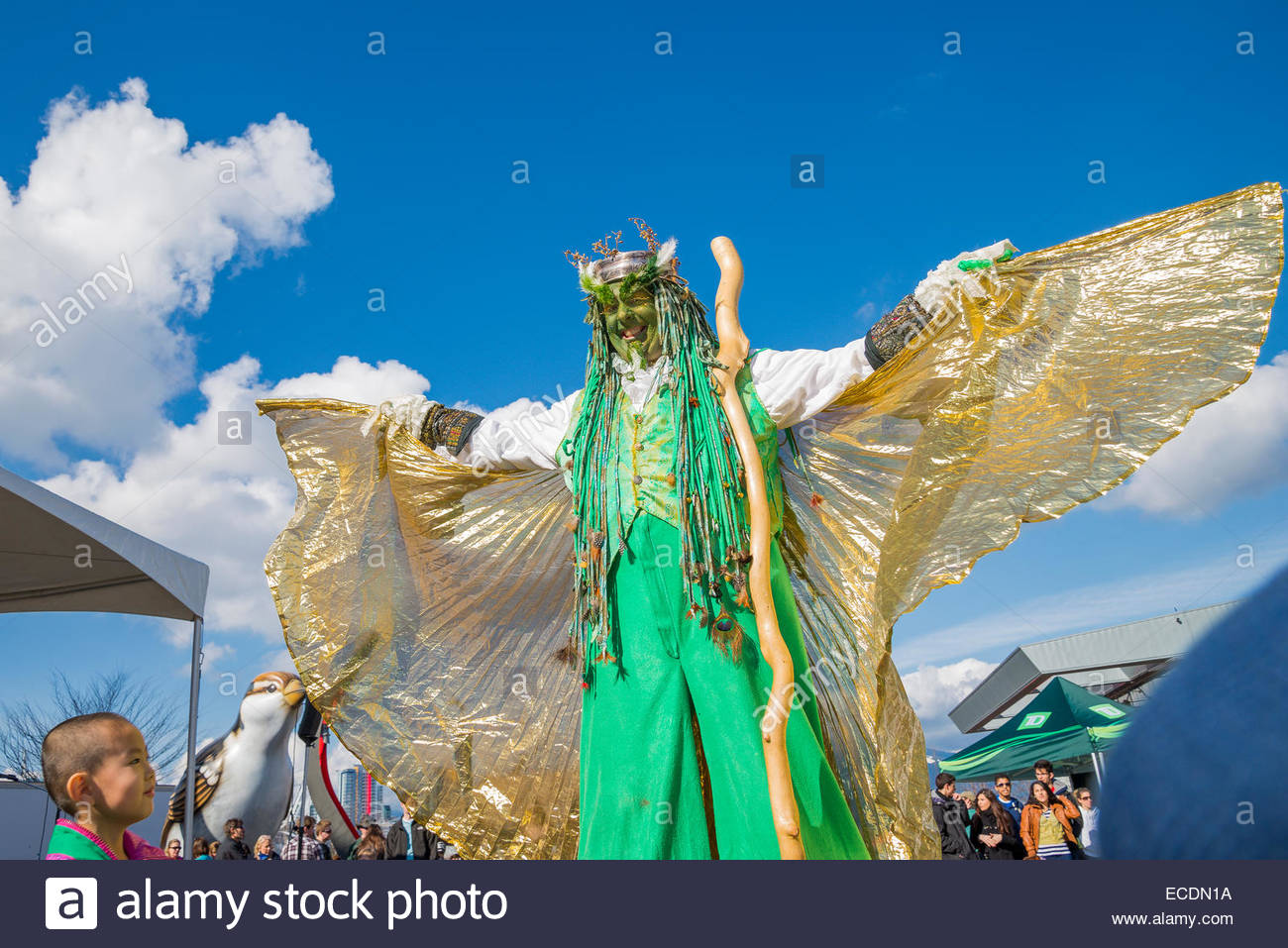 Actor and storyteller, John Conway, 'The Green Man', Celtic Festival, Vancouver, British Columbia, Canada - Stock Image
