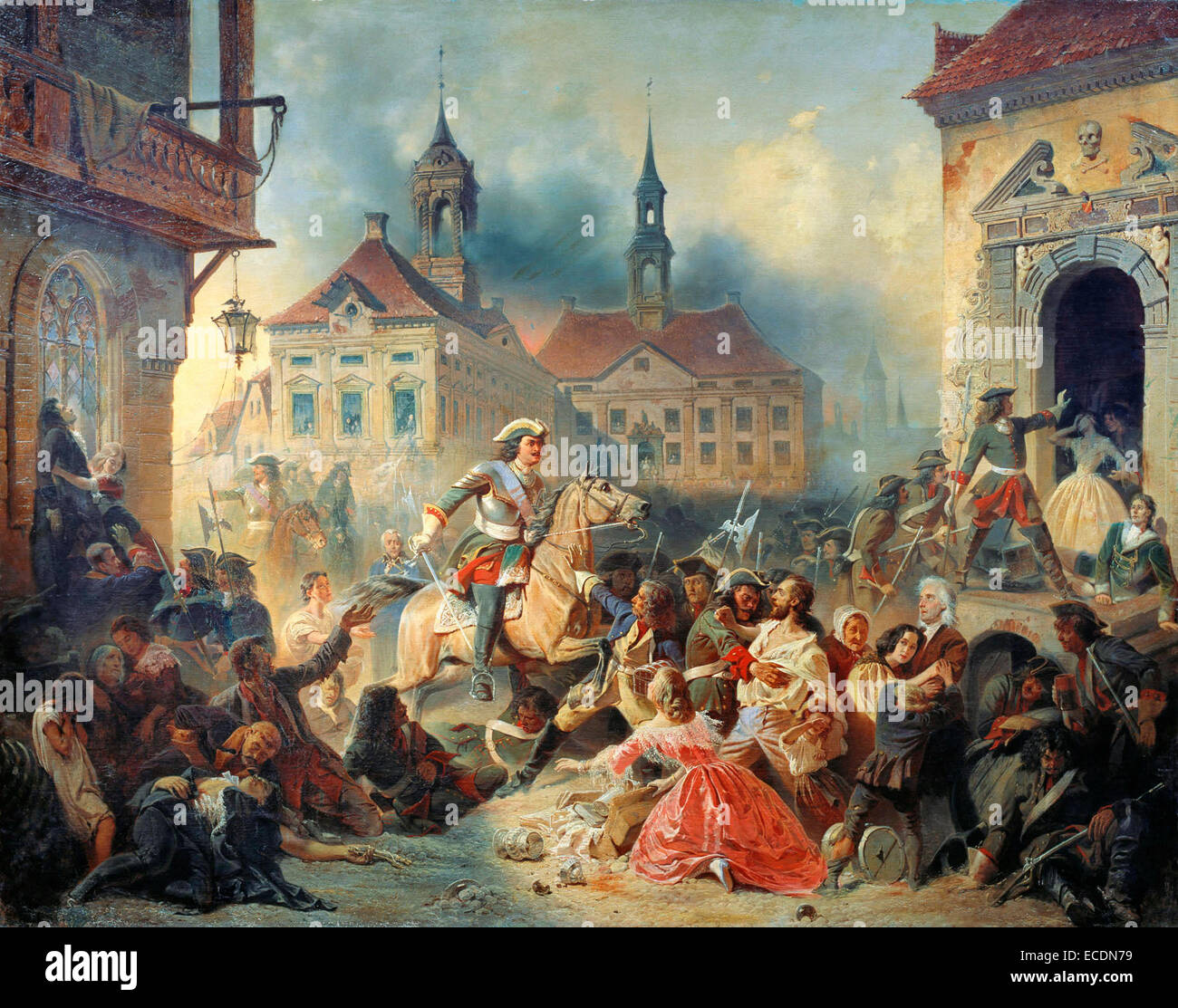 Peter I of Russia pacifies his marauding troops after taking Narva in 1704 by Nikolay Sauerweid - Stock Image